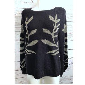 Lucky Brand Black Acrylic Graphic Print Sweater